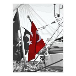 Bandera de Turquía - colorante selectivo Invitación 13,9 X 19,0 Cm