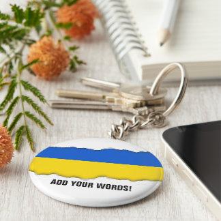 Bandera de Ucrania Llavero Redondo Tipo Chapa