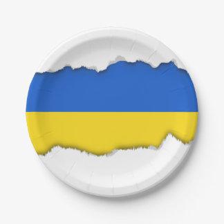Bandera de Ucrania Plato De Papel