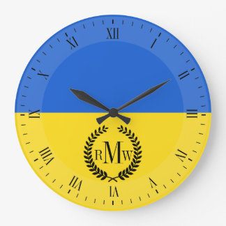 Bandera de Ucrania Reloj Redondo Grande