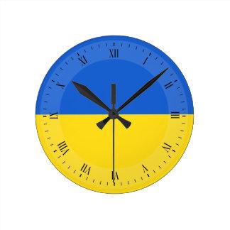Bandera de Ucrania Reloj Redondo Mediano