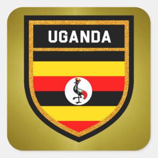 Bandera de Uganda Pegatina Cuadrada