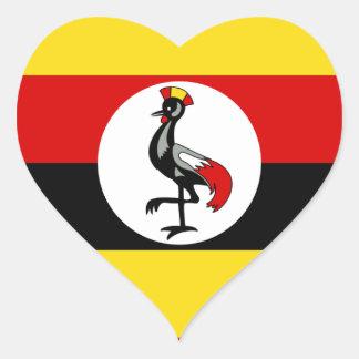 Bandera de Uganda Pegatina En Forma De Corazón
