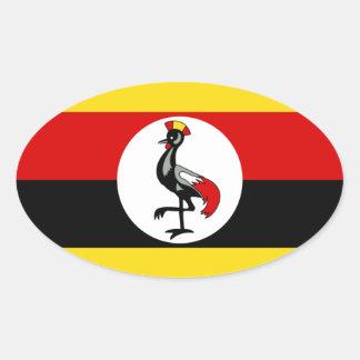 Bandera de Uganda Pegatina Ovalada