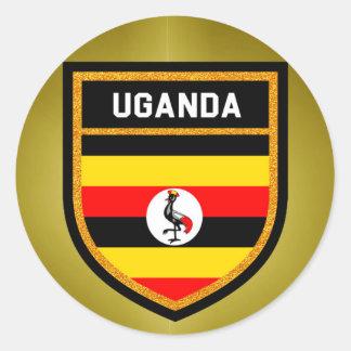 Bandera de Uganda Pegatina Redonda