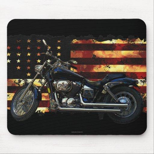 Bandera de unión, barras y estrellas, motocicleta tapete de ratones