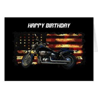 Bandera de unión, barras y estrellas, motocicleta tarjeton