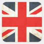 Bandera de unión británica pegatinas cuadradases