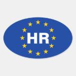 """Bandera de unión europea de CUATRO Croacia """"hora"""" Calcomanías Óvales Personalizadas"""