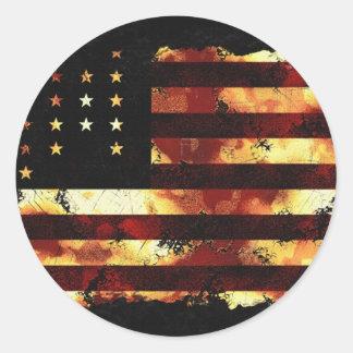 Bandera de unión, guerra civil, barras y pegatina redonda