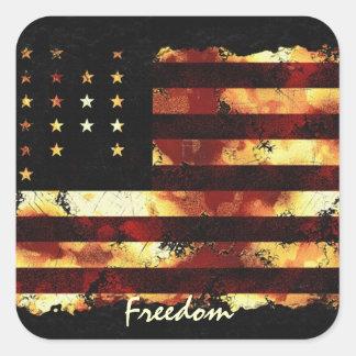 Bandera de unión, guerra civil, barras y pegatina cuadrada