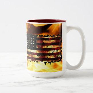 Bandera de unión, guerra civil, estrellas y rayas, taza de café de dos colores