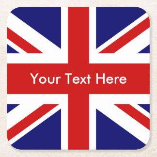 Bandera de Union Jack Británicos Posavasos De Papel Cuadrado