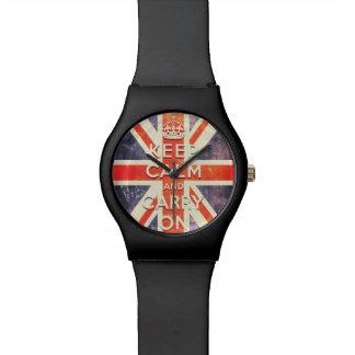 Bandera de Union Jack del vintage - guarde la calm Reloj De Mano