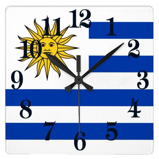 Bandera de Uraguay Reloj Cuadrado