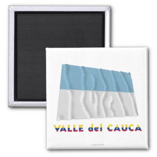 Bandera de Valle del Cauca Waving con nombre Iman Para Frigorífico