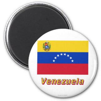 Bandera de Venezuela con nombre Imán Redondo 5 Cm