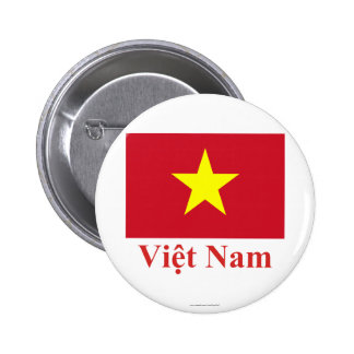 Bandera de Vietnam con nombre en vietnamita Chapa Redonda 5 Cm