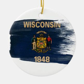 Bandera de Wisconsin Adorno Redondo De Cerámica