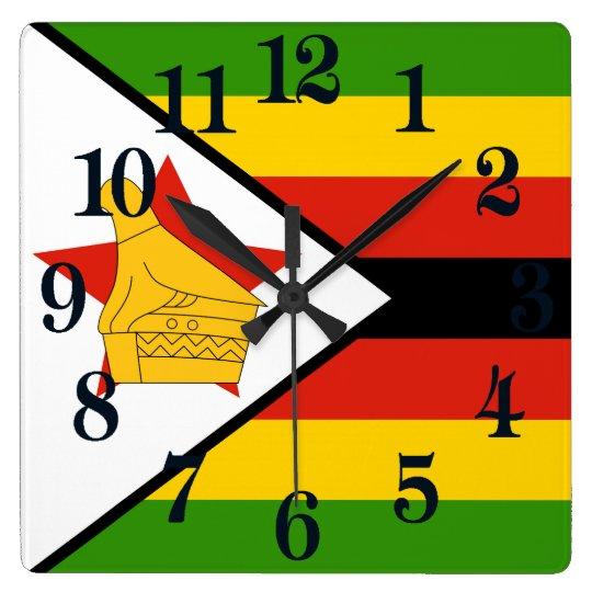 Bandera de Zimbabwe África Reloj Cuadrado