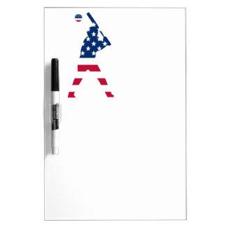 Bandera del americano del béisbol de América Pizarra Blanca