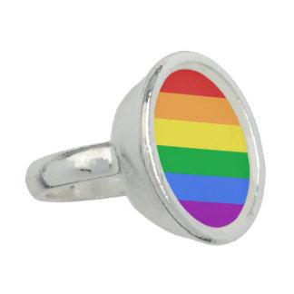 Bandera del arco iris anillo con foto