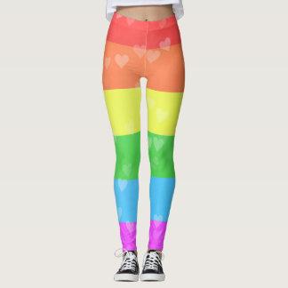 Bandera del arco iris con orgullo de los corazones leggings
