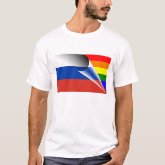 Bandera del arco iris del orgullo gay de Rusia Camiseta