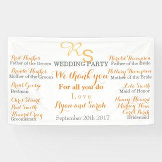 Bandera del banquete de boda lona