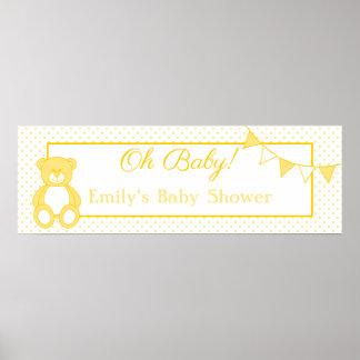 Bandera del bebé del oso de peluche poster