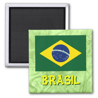 Bandera del Brasil Imán Cuadrado
