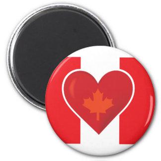 Bandera del canadiense del corazón imán redondo 5 cm