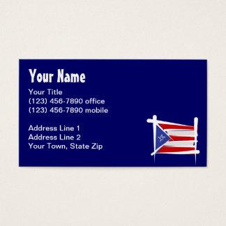 Bandera del cepillo de Puerto Rico Tarjeta De Negocios