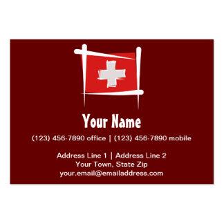 Bandera del cepillo de Suiza Tarjetas De Visita Grandes