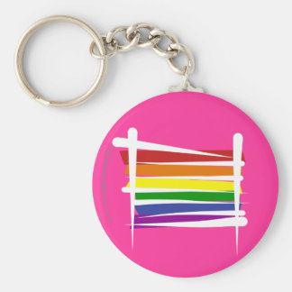 Bandera del cepillo del orgullo gay del arco iris llavero redondo tipo chapa