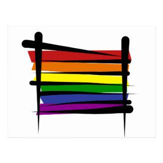 Bandera del cepillo del orgullo gay del arco iris tarjetas postales