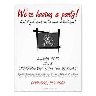 Bandera del cepillo del pirata anuncio personalizado
