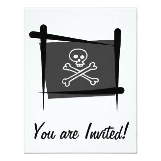 Bandera del cepillo del pirata invitación 10,8 x 13,9 cm