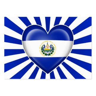 Bandera del corazón de El Salvador con los rayos d Tarjeta Personal