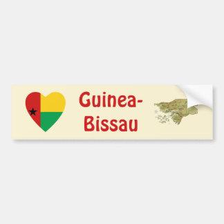 Bandera del corazón de Guinea-Bissau + Pegatina pa Pegatina De Parachoque