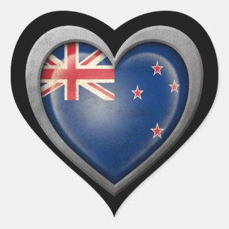 Bandera del corazón de Nueva Zelanda con efecto de Calcomania De Corazon