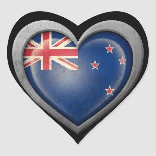 Bandera del corazón de Nueva Zelanda con efecto Calcomanía Corazón Personalizadas
