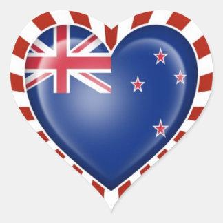 Bandera del corazón de Nueva Zelanda con la explos Calcomanía Corazón
