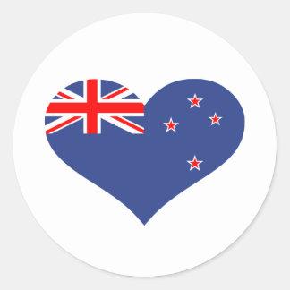 Bandera del corazón de Nueva Zelanda Etiquetas Redondas