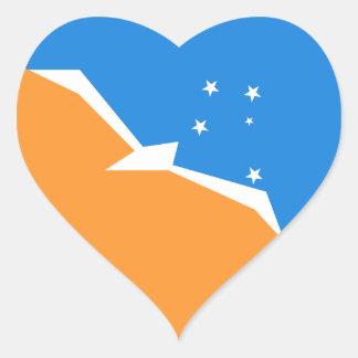 Bandera del corazón de Tierra del Fuego. Pegatina En Forma De Corazón
