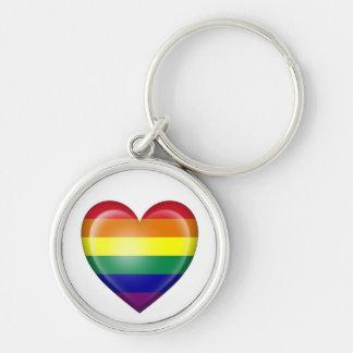 Bandera del corazón del orgullo gay del arco iris llaveros personalizados