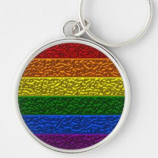 Bandera del cromo del orgullo gay llavero redondo plateado