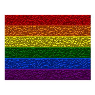 Bandera del cromo del orgullo gay postal