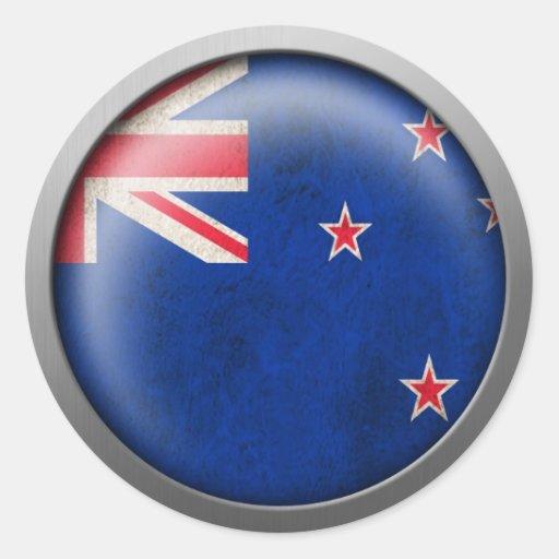 Bandera del disco de Nueva Zelanda Pegatina Redonda