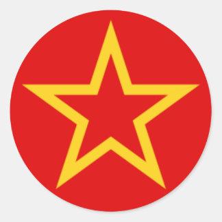 Bandera del ejército rojo pegatina redonda